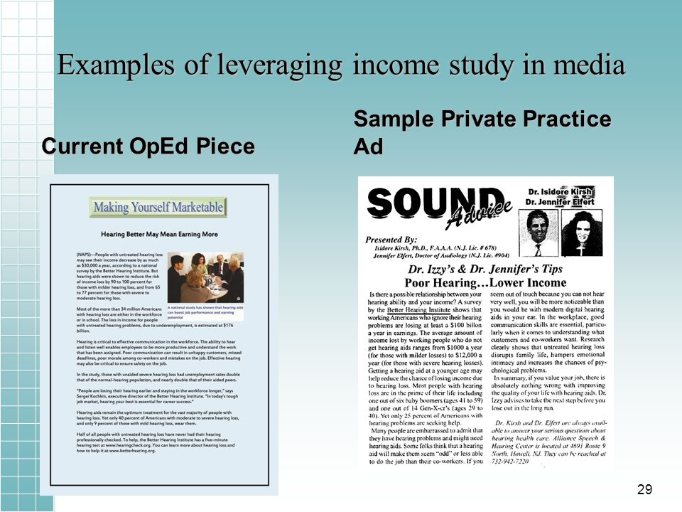 Examples of leveraging income study in media Current OpEd Piece Sample Private Practice Ad 29