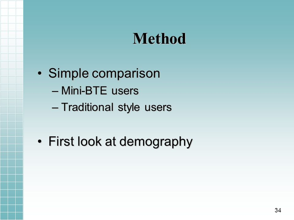 Method Simple comparisonSimple comparison –Mini-BTE users –Traditional style users First look at demographyFirst look at demography 34