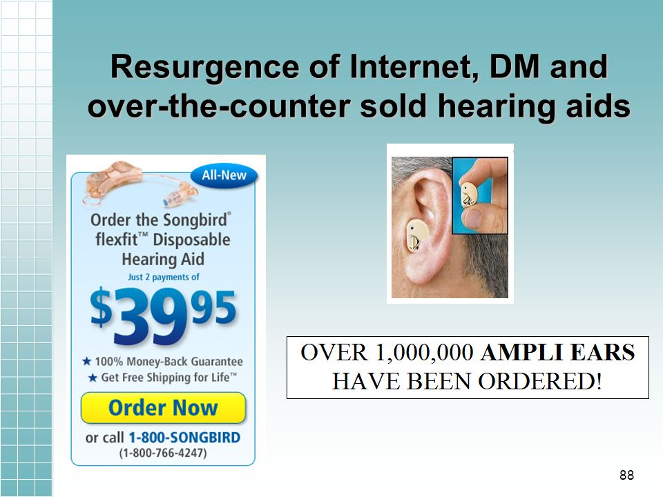 Resurgence of Internet, DM and over-the-counter sold hearing aids 88