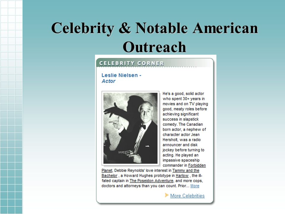 Celebrity & Notable American Outreach