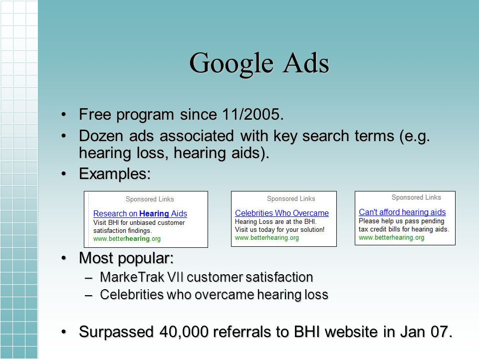 Google Ads Free program since 11/2005.Free program since 11/2005.