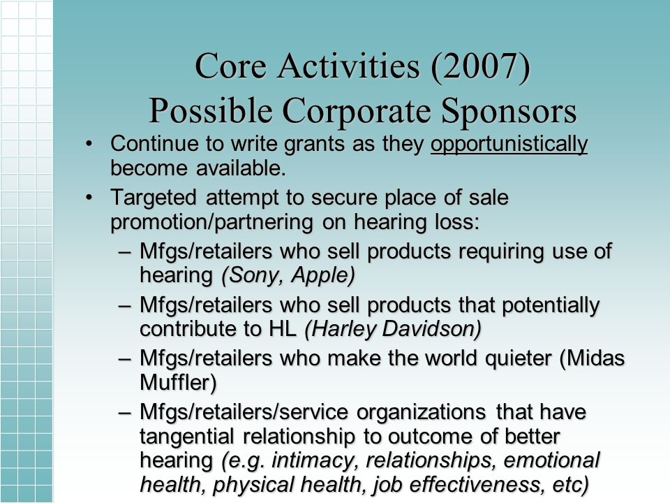 Core Activities (2007) Possible Corporate Sponsors Continue to write grants as they opportunistically become available.Continue to write grants as they opportunistically become available.