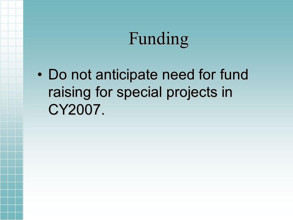 Funding Do not anticipate need for fund raising for special projects in CY2007.Do not anticipate need for fund raising for special projects in CY2007.