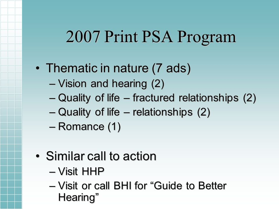 2007 Print PSA Program Thematic in nature (7 ads)Thematic in nature (7 ads) –Vision and hearing (2) –Quality of life – fractured relationships (2) –Quality of life – relationships (2) –Romance (1) Similar call to actionSimilar call to action –Visit HHP –Visit or call BHI for Guide to Better Hearing