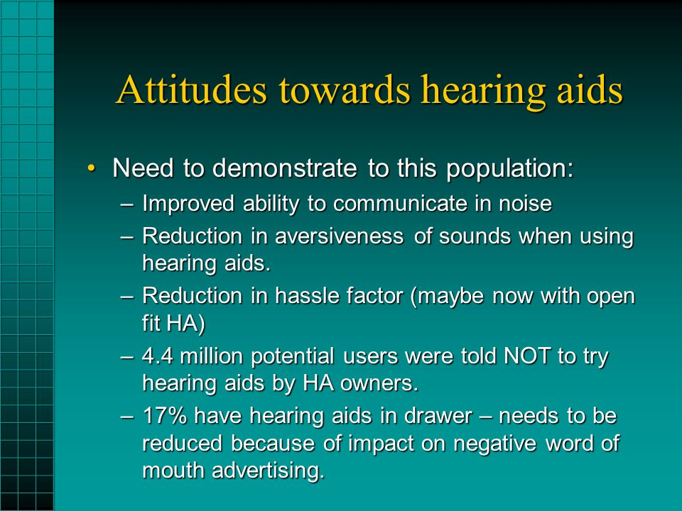 Attitudes towards hearing aids Need to demonstrate to this population:Need to demonstrate to this population: –Improved ability to communicate in noise –Reduction in aversiveness of sounds when using hearing aids.