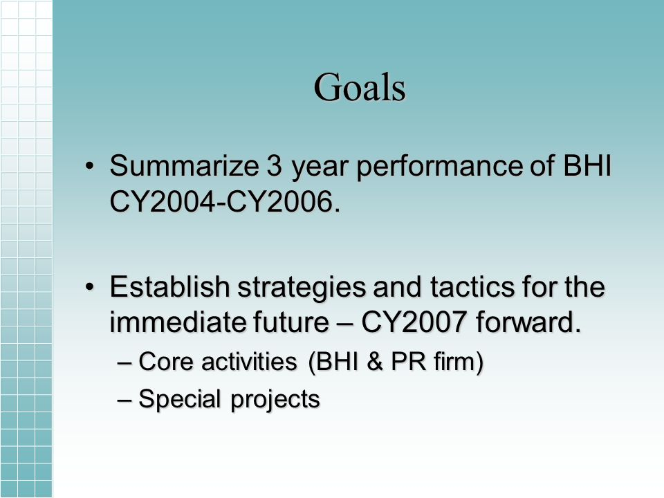 Goals Summarize 3 year performance of BHI CY2004-CY2006.Summarize 3 year performance of BHI CY2004-CY2006.