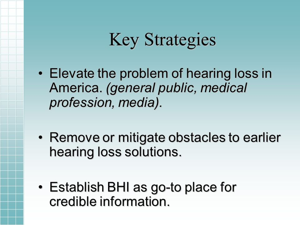 Key Strategies Elevate the problem of hearing loss in America.