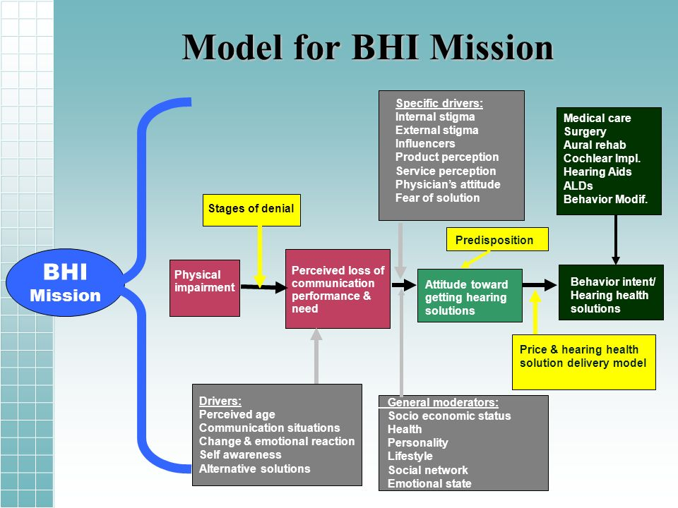 Model for BHI Mission BHI Mission Specific drivers: Internal stigma External stigma Influencers Product perception Service perception Physicians attitude Fear of solution Physical impairment Stages of denial Perceived loss of communication performance & need Attitude toward getting hearing solutions Behavior intent/ Hearing health solutions Predisposition Price & hearing health solution delivery model Drivers: Perceived age Communication situations Change & emotional reaction Self awareness Alternative solutions General moderators: Socio economic status Health Personality Lifestyle Social network Emotional state Medical care Surgery Aural rehab Cochlear Impl.