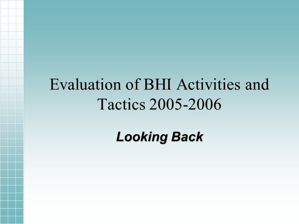 Evaluation of BHI Activities and Tactics 2005-2006 Looking Back