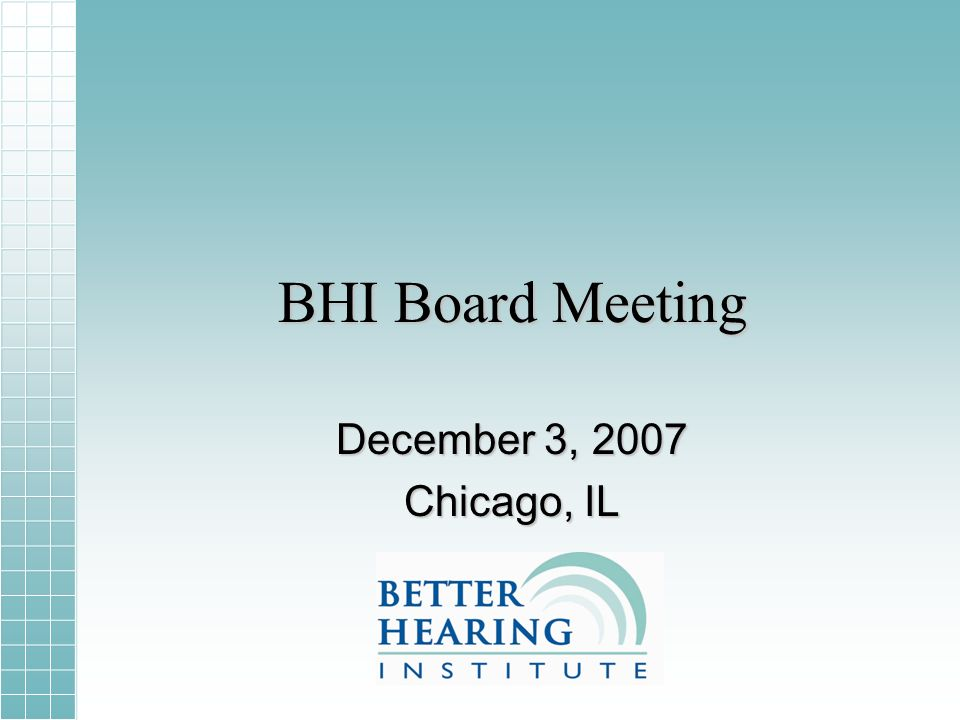 BHI Board Meeting December 3, 2007 Chicago, IL