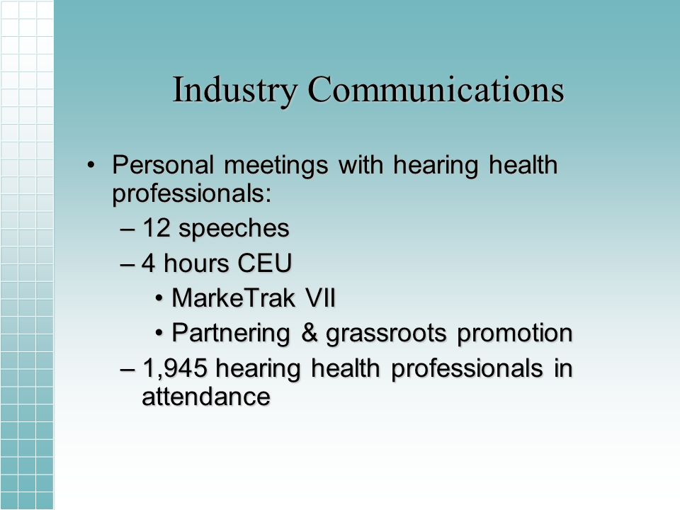 Industry Communications Personal meetings with hearing health professionals:Personal meetings with hearing health professionals: –12 speeches –4 hours CEU MarkeTrak VIIMarkeTrak VII Partnering & grassroots promotionPartnering & grassroots promotion –1,945 hearing health professionals in attendance