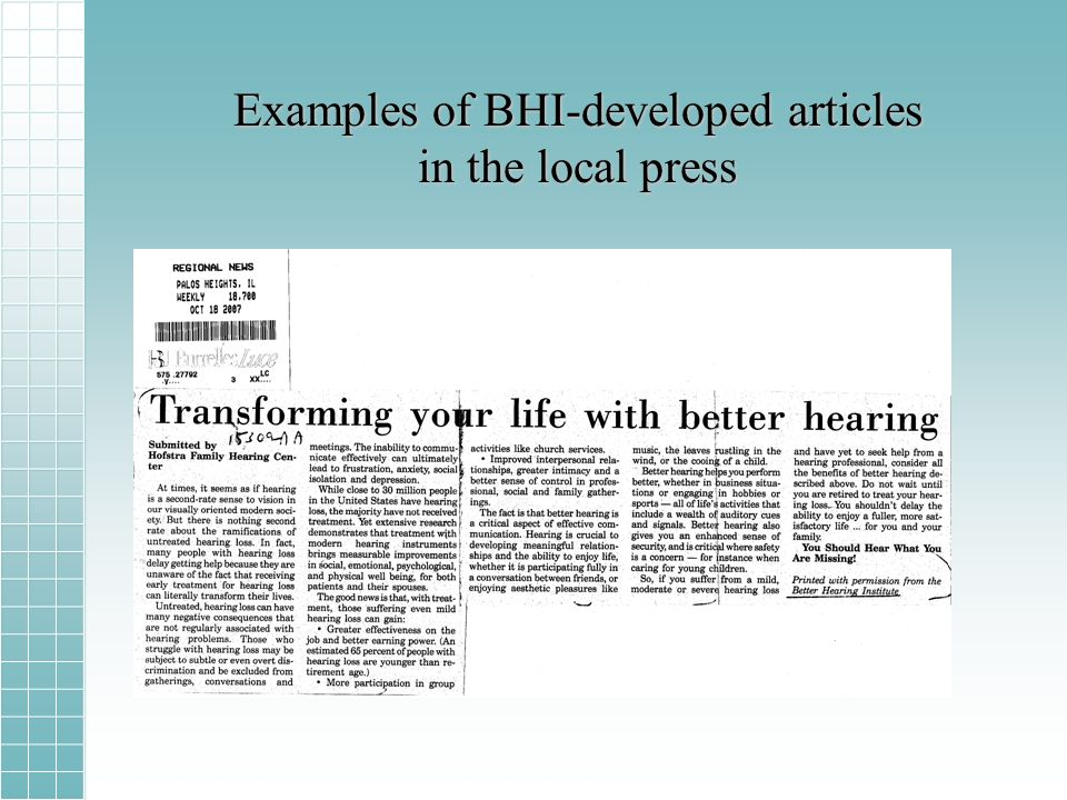 Examples of BHI-developed articles in the local press