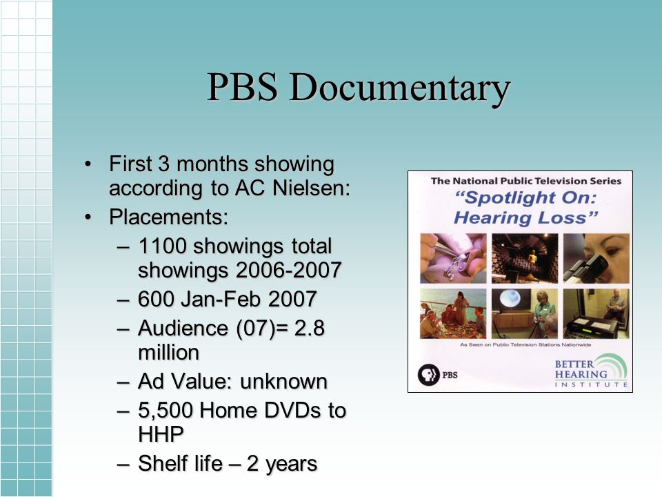 PBS Documentary First 3 months showing according to AC Nielsen:First 3 months showing according to AC Nielsen: Placements:Placements: –1100 showings total showings 2006-2007 –600 Jan-Feb 2007 –Audience (07)= 2.8 million –Ad Value: unknown –5,500 Home DVDs to HHP –Shelf life – 2 years