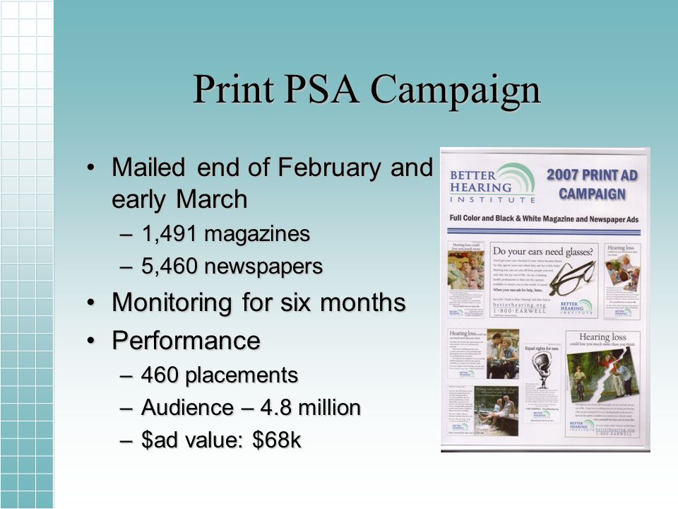 Print PSA Campaign Mailed end of February and early MarchMailed end of February and early March –1,491 magazines –5,460 newspapers Monitoring for six monthsMonitoring for six months PerformancePerformance –460 placements –Audience – 4.8 million –$ad value: $68k