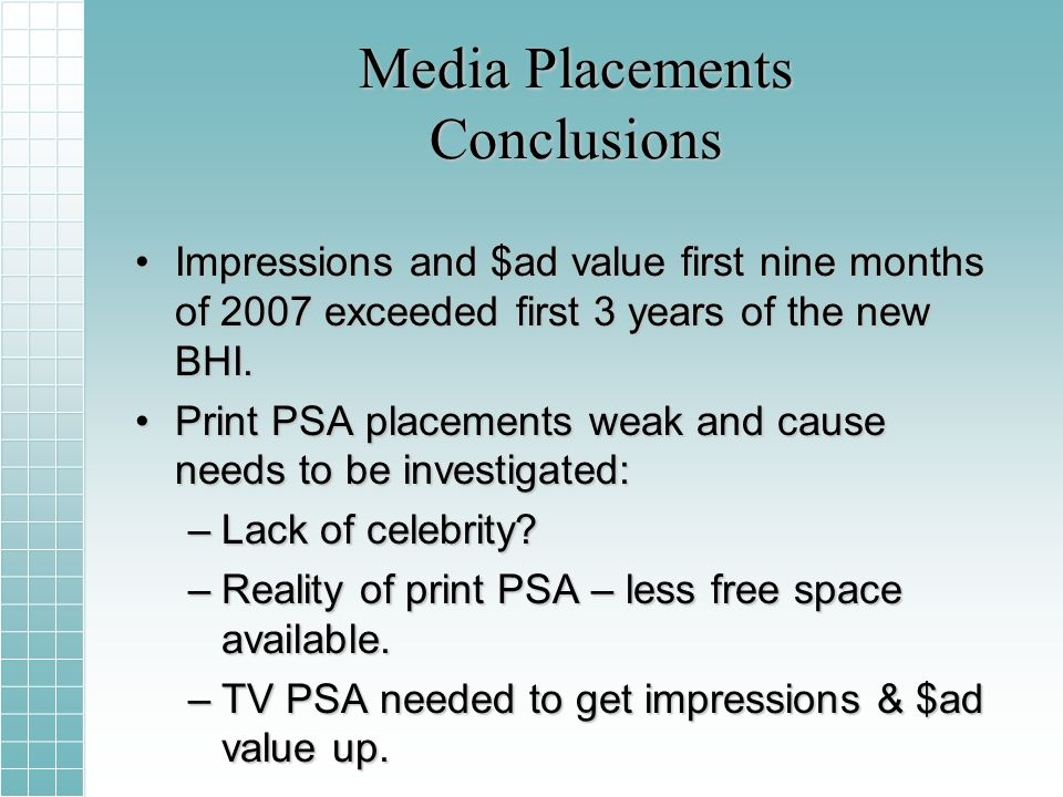 Media Placements Conclusions Impressions and $ad value first nine months of 2007 exceeded first 3 years of the new BHI.Impressions and $ad value first nine months of 2007 exceeded first 3 years of the new BHI.