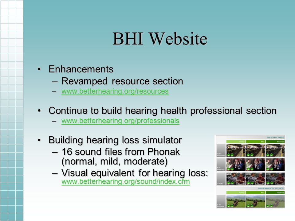 BHI Website EnhancementsEnhancements –Revamped resource section –www.betterhearing.org/resources www.betterhearing.org/resources Continue to build hearing health professional sectionContinue to build hearing health professional section –www.betterhearing.org/professionals www.betterhearing.org/professionals Building hearing loss simulatorBuilding hearing loss simulator –16 sound files from Phonak (normal, mild, moderate) –Visual equivalent for hearing loss: www.betterhearing.org/sound/index.cfm www.betterhearing.org/sound/index.cfm