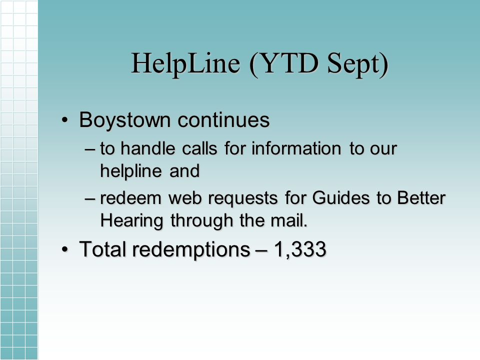 HelpLine (YTD Sept) Boystown continuesBoystown continues –to handle calls for information to our helpline and –redeem web requests for Guides to Better Hearing through the mail.