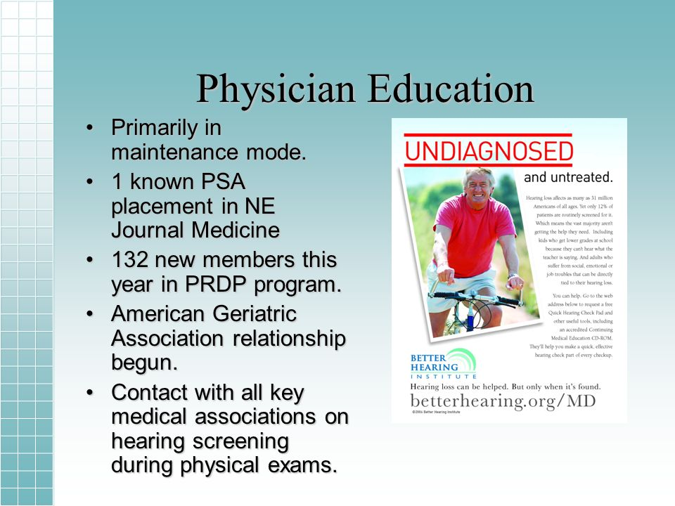 Physician Education Primarily in maintenance mode.Primarily in maintenance mode.