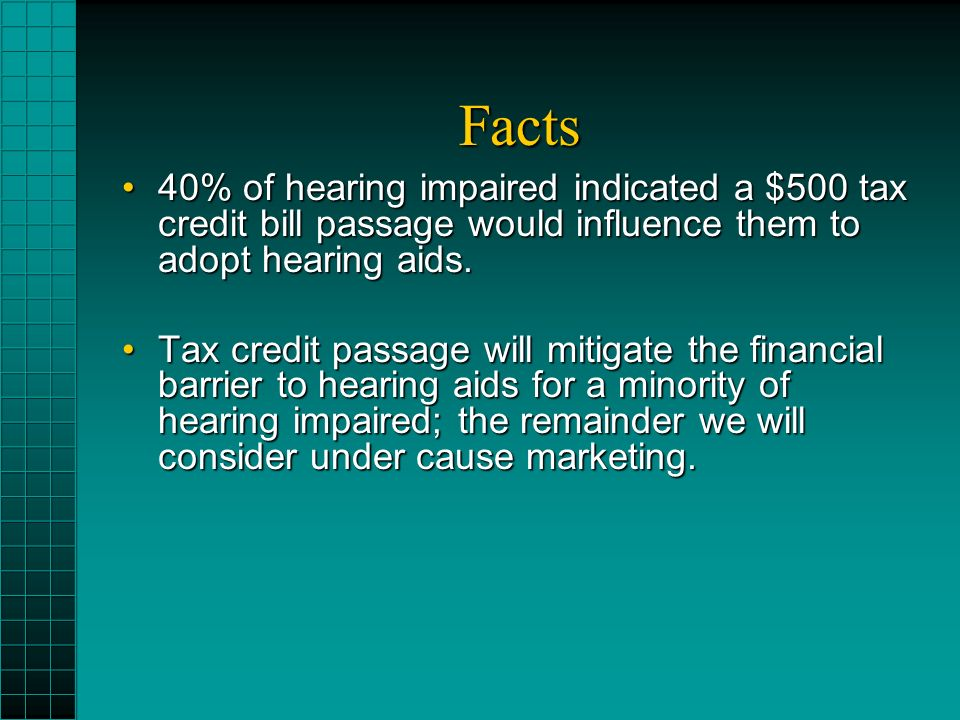 Facts 40% of hearing impaired indicated a $500 tax credit bill passage would influence them to adopt hearing aids.40% of hearing impaired indicated a $500 tax credit bill passage would influence them to adopt hearing aids.