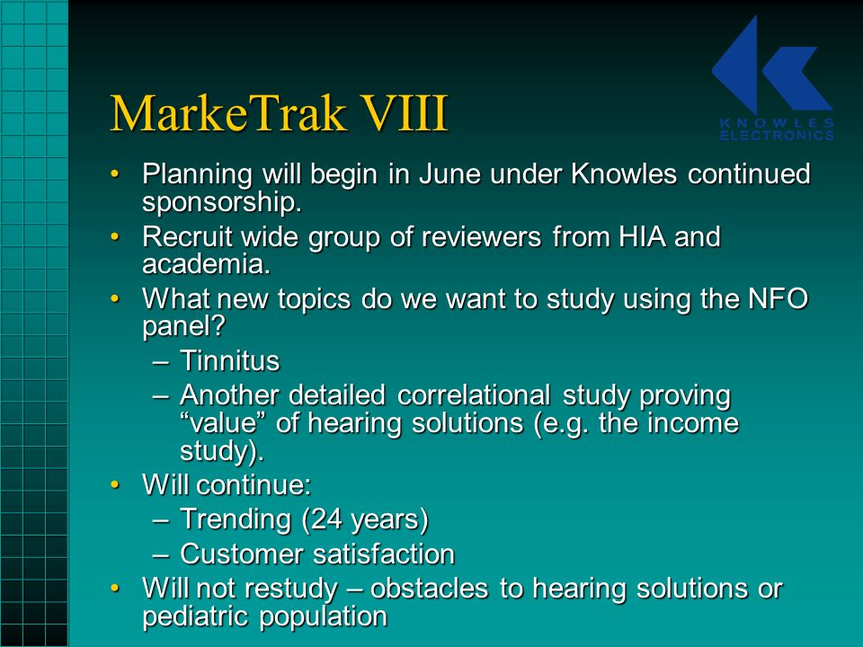 MarkeTrak VIII Planning will begin in June under Knowles continued sponsorship.Planning will begin in June under Knowles continued sponsorship.
