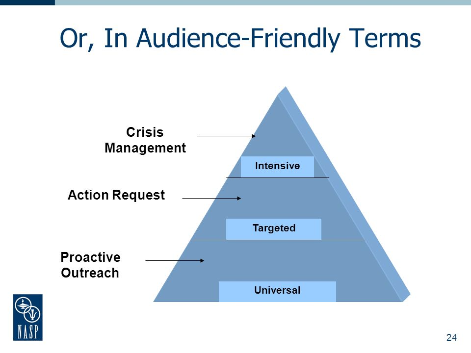24 Or, In Audience-Friendly Terms Proactive Outreach Action Request Crisis Management Intensive Targeted Universal