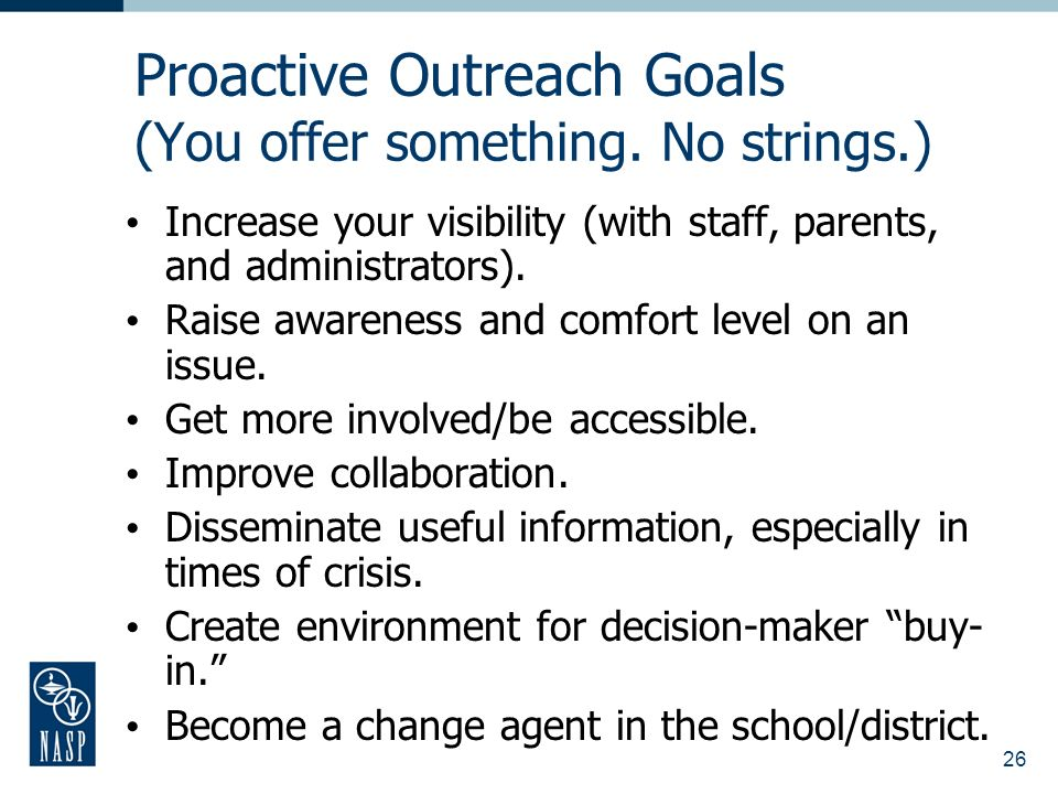 26 Proactive Outreach Goals (You offer something.