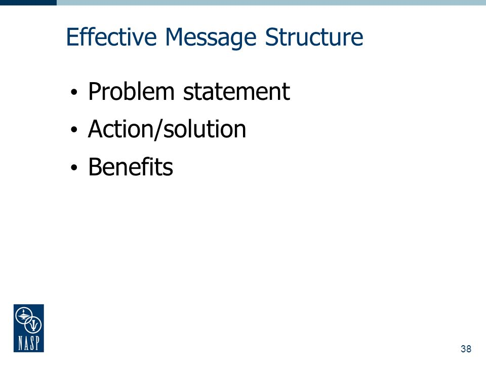 38 Effective Message Structure Problem statement Action/solution Benefits