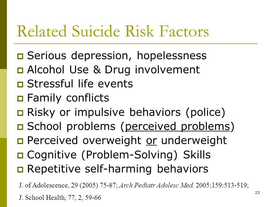 23 Related Suicide Risk Factors Serious depression, hopelessness Alcohol Use & Drug involvement Stressful life events Family conflicts Risky or impulsive behaviors (police) School problems (perceived problems) Perceived overweight or underweight Cognitive (Problem-Solving) Skills Repetitive self-harming behaviors J.