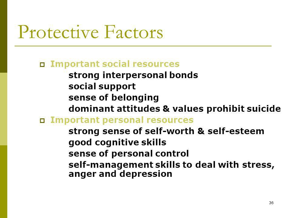36 Protective Factors Important social resources strong interpersonal bonds social support sense of belonging dominant attitudes & values prohibit suicide Important personal resources strong sense of self-worth & self-esteem good cognitive skills sense of personal control self-management skills to deal with stress, anger and depression