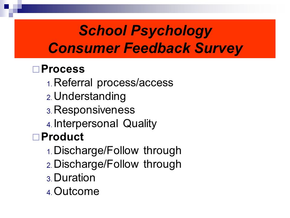 School Psychology Consumer Feedback Survey Process 1.