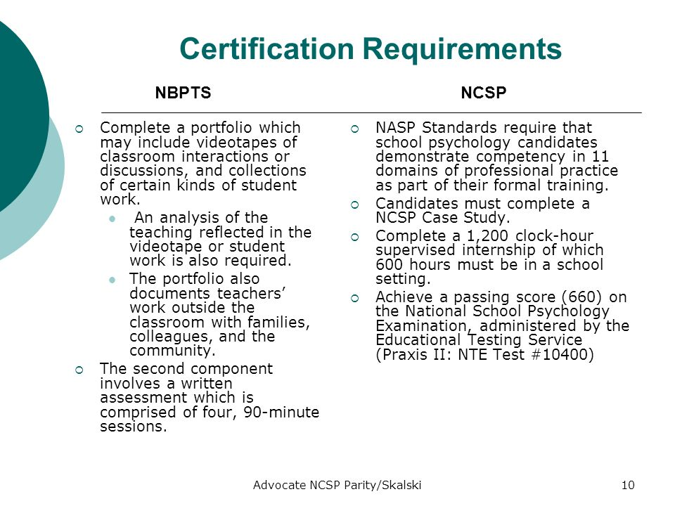 Advocate NCSP Parity/Skalski10 Certification Requirements Complete a portfolio which may include videotapes of classroom interactions or discussions, and collections of certain kinds of student work.