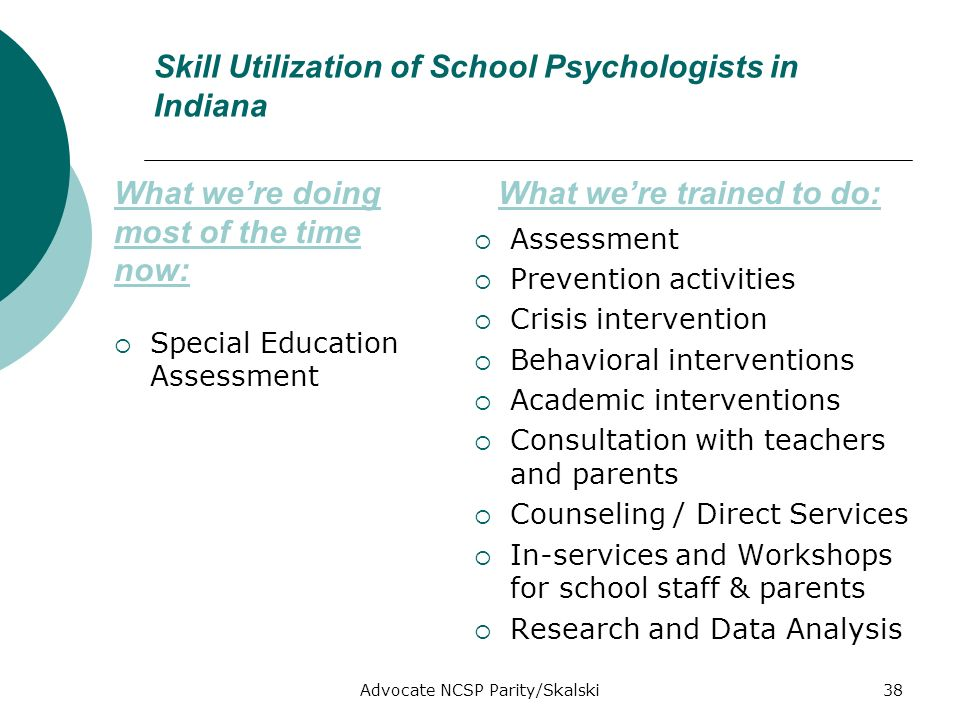 Advocate NCSP Parity/Skalski38 Skill Utilization of School Psychologists in Indiana Special Education Assessment Assessment Prevention activities Crisis intervention Behavioral interventions Academic interventions Consultation with teachers and parents Counseling / Direct Services In-services and Workshops for school staff & parents Research and Data Analysis What were doing most of the time now: What were trained to do: