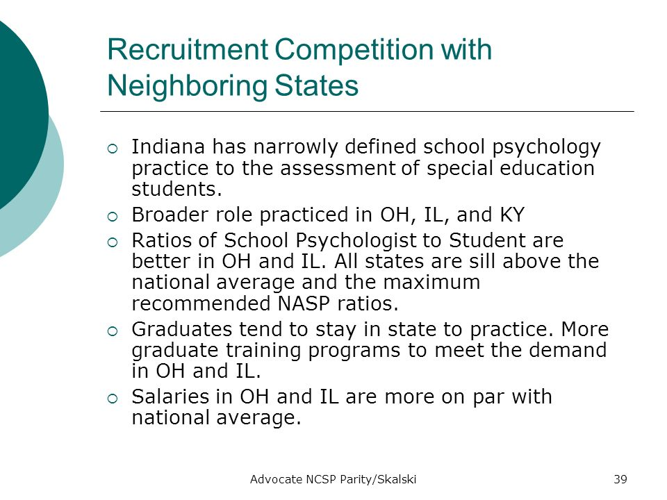 Advocate NCSP Parity/Skalski39 Recruitment Competition with Neighboring States Indiana has narrowly defined school psychology practice to the assessment of special education students.
