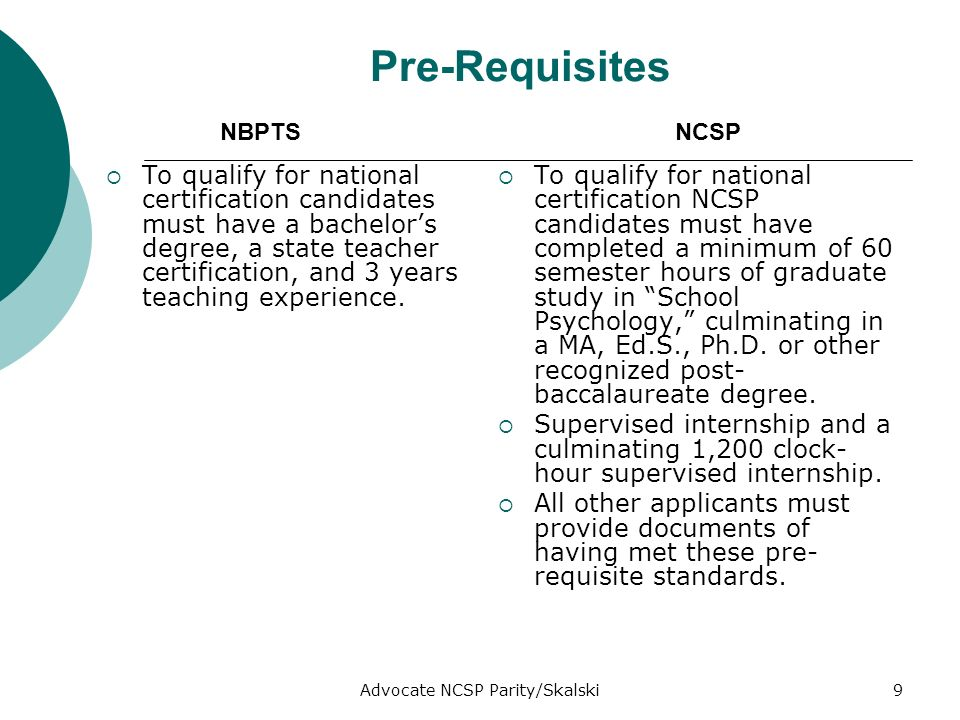 Advocate NCSP Parity/Skalski9 Pre-Requisites To qualify for national certification candidates must have a bachelors degree, a state teacher certification, and 3 years teaching experience.