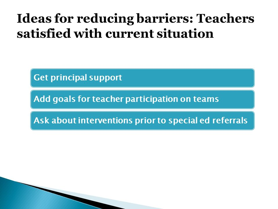 Ideas for reducing barriers: Teachers satisfied with current situation