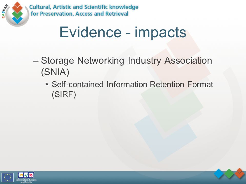 Evidence - impacts –Storage Networking Industry Association (SNIA) Self-contained Information Retention Format (SIRF)