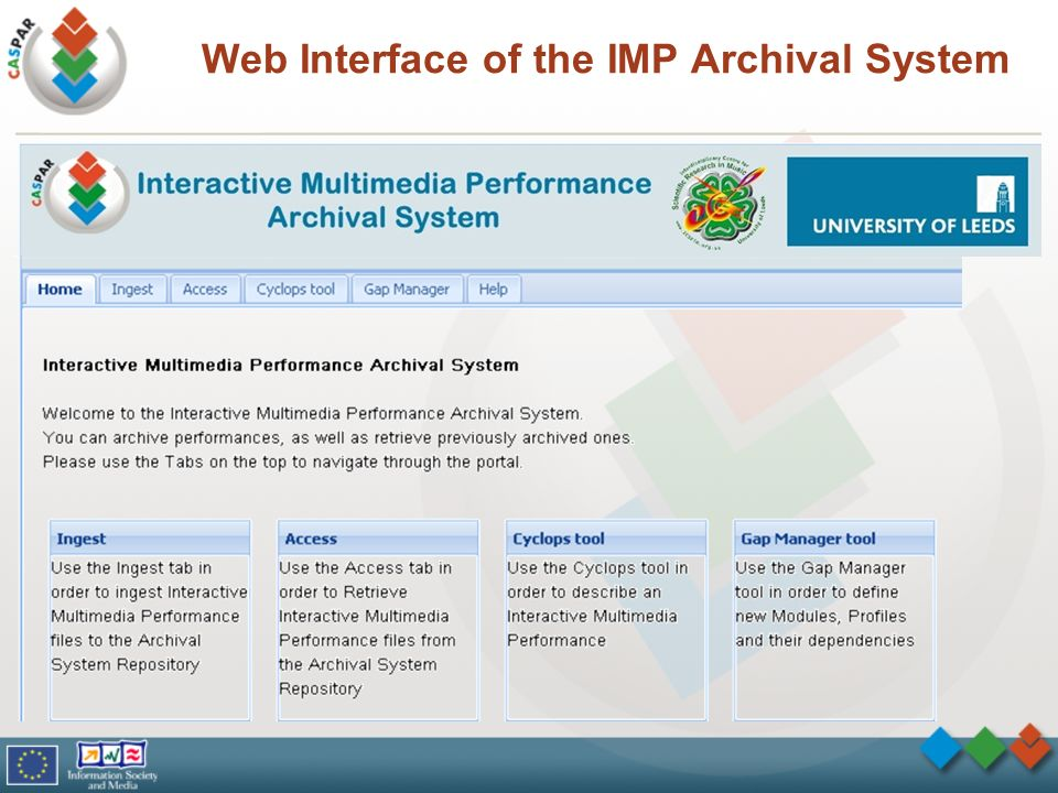 Web Interface of the IMP Archival System