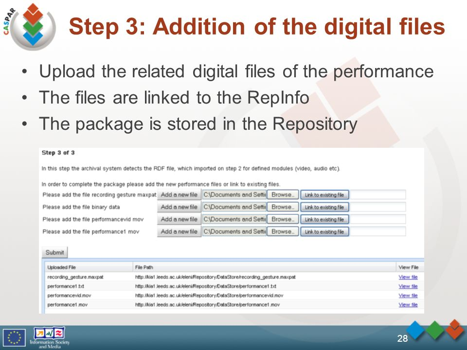 Step 3: Addition of the digital files Upload the related digital files of the performance The files are linked to the RepInfo The package is stored in the Repository 28