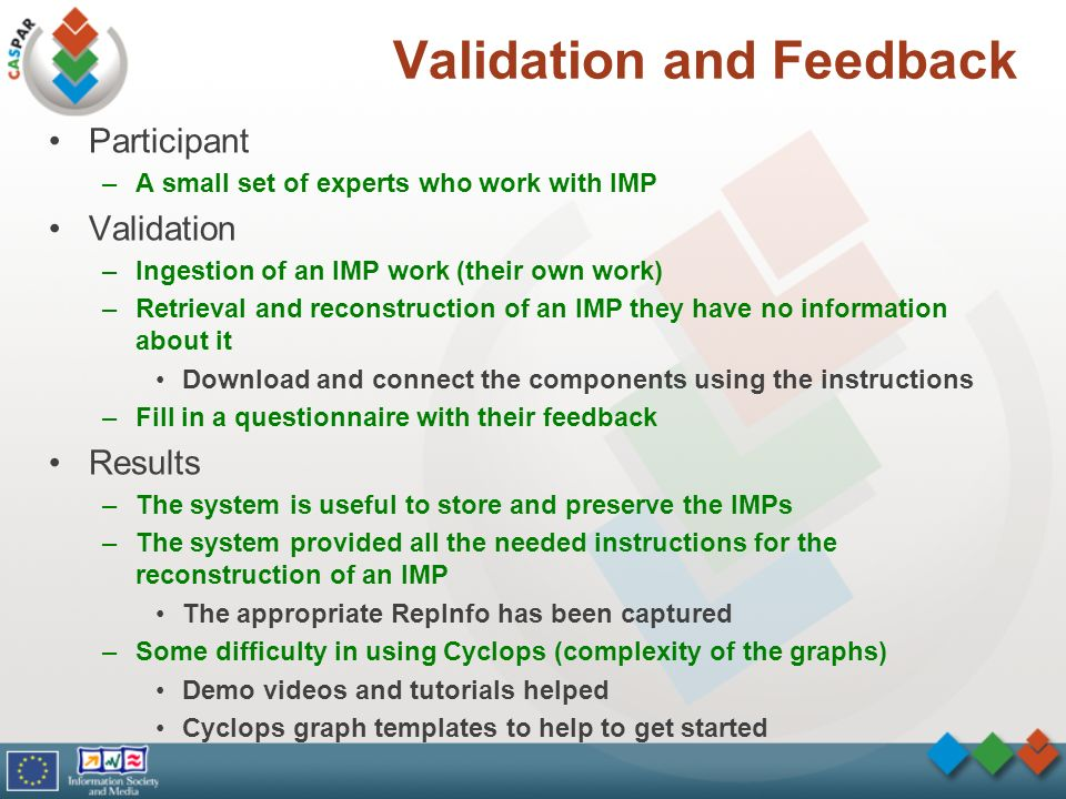 Validation and Feedback Participant –A small set of experts who work with IMP Validation –Ingestion of an IMP work (their own work) –Retrieval and reconstruction of an IMP they have no information about it Download and connect the components using the instructions –Fill in a questionnaire with their feedback Results –The system is useful to store and preserve the IMPs –The system provided all the needed instructions for the reconstruction of an IMP The appropriate RepInfo has been captured –Some difficulty in using Cyclops (complexity of the graphs) Demo videos and tutorials helped Cyclops graph templates to help to get started