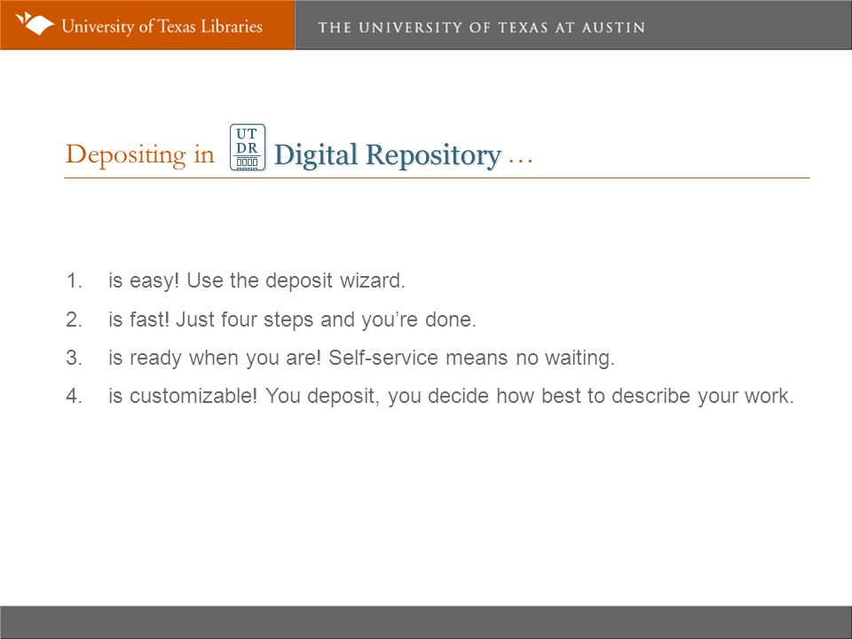 Depositing in … 1. is easy. Use the deposit wizard.