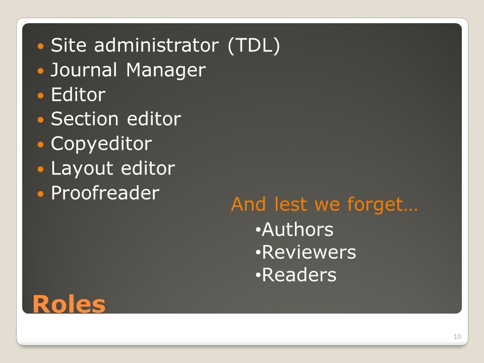 Roles Site administrator (TDL) Journal Manager Editor Section editor Copyeditor Layout editor Proofreader And lest we forget… Authors Reviewers Readers 10