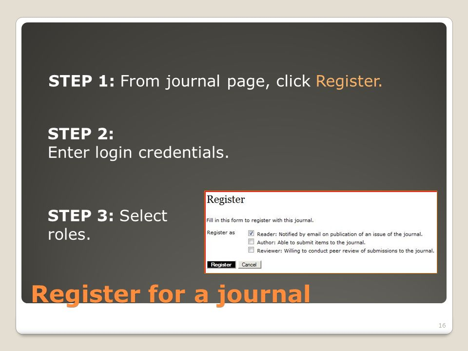 Register for a journal STEP 1: From journal page, click Register.