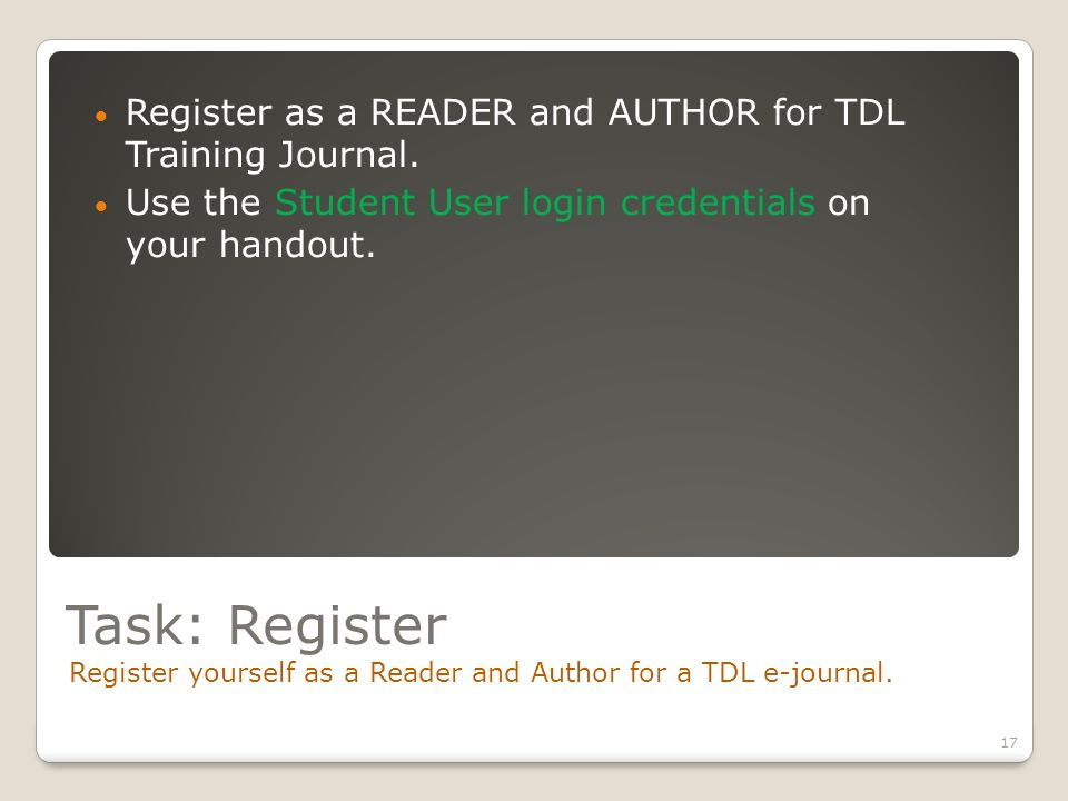 Task: Register Register yourself as a Reader and Author for a TDL e-journal.