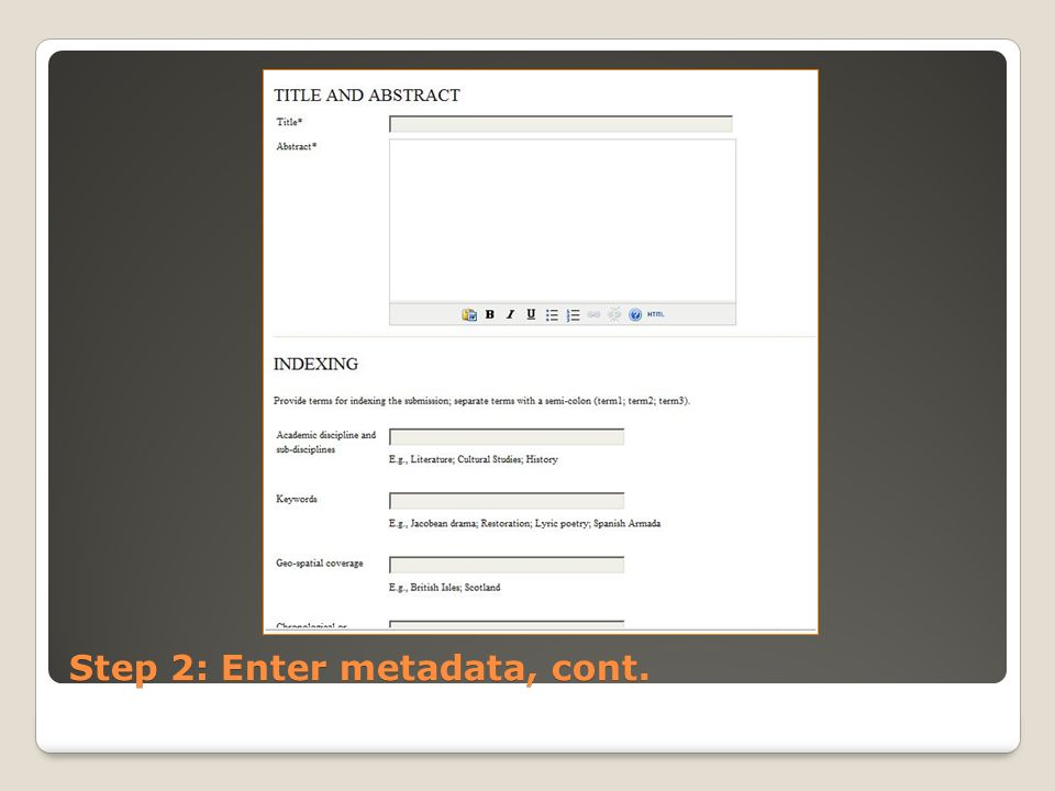 Step 2: Enter metadata, cont.