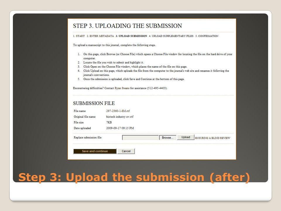 Step 3: Upload the submission (after)