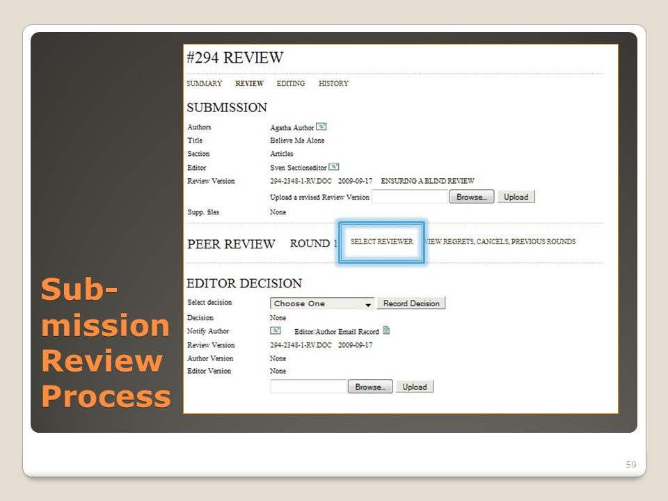 Sub- mission Review Process 59