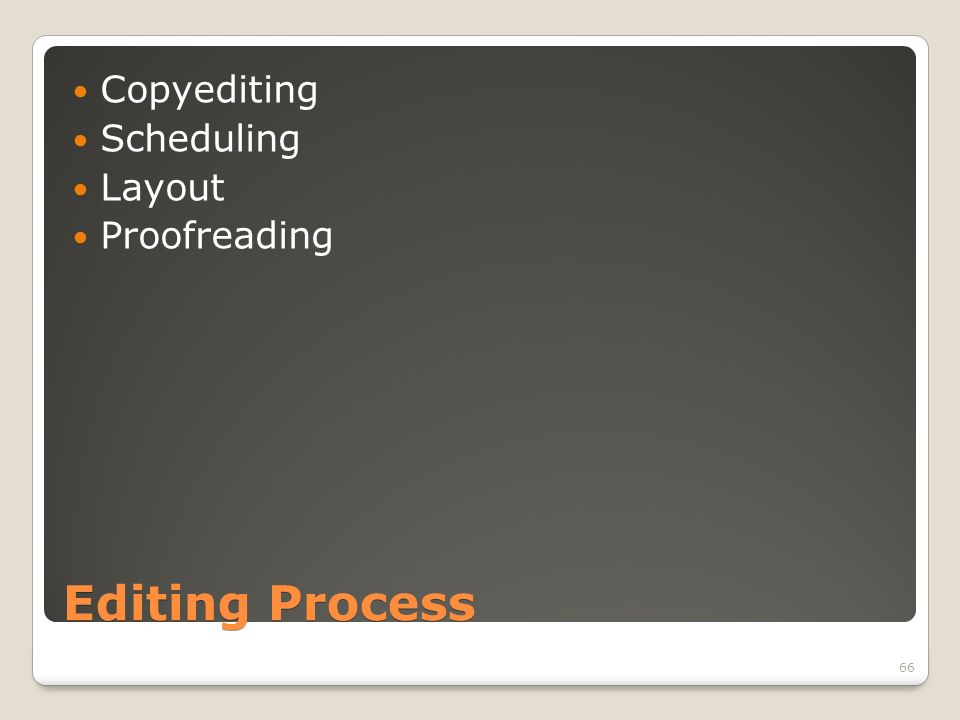 Editing Process Copyediting Scheduling Layout Proofreading 66