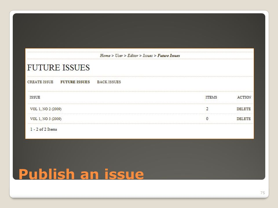 Publish an issue 75