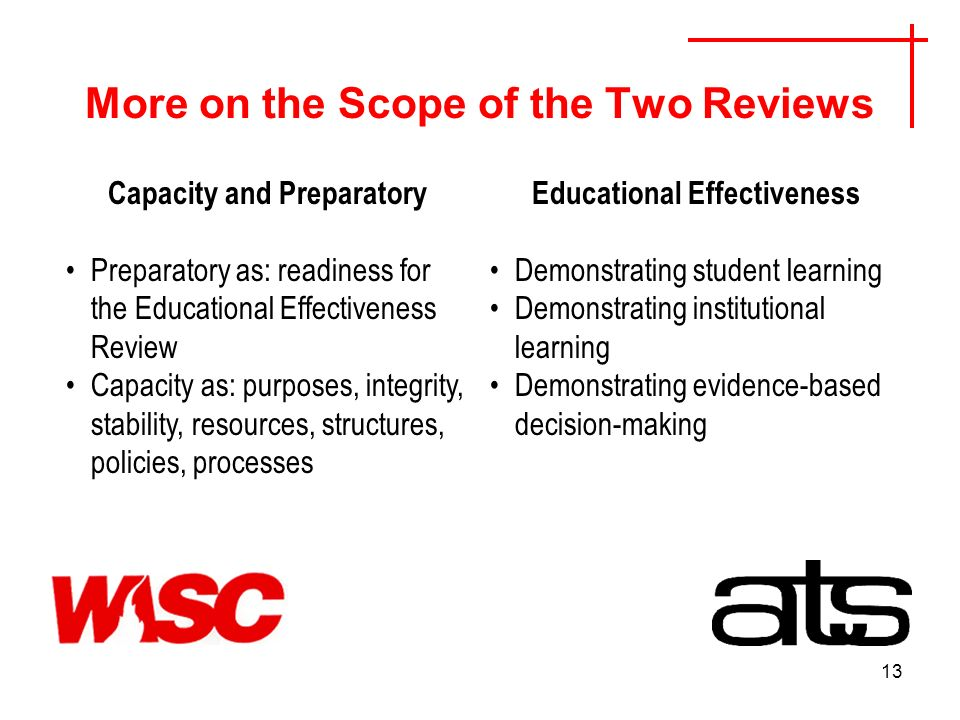 13 More on the Scope of the Two Reviews Capacity and Preparatory Preparatory as: readiness for the Educational Effectiveness Review Capacity as: purposes, integrity, stability, resources, structures, policies, processes Educational Effectiveness Demonstrating student learning Demonstrating institutional learning Demonstrating evidence-based decision-making
