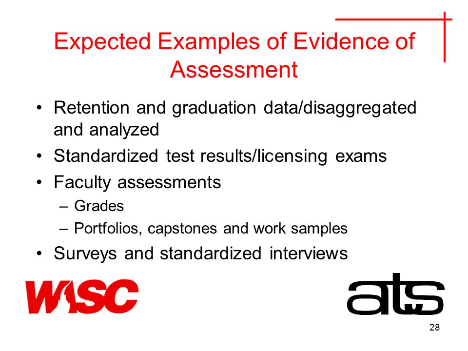 28 Expected Examples of Evidence of Assessment Retention and graduation data/disaggregated and analyzed Standardized test results/licensing exams Faculty assessments –Grades –Portfolios, capstones and work samples Surveys and standardized interviews
